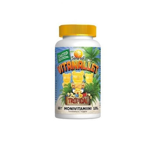 Жевательные витамины Sana-Sol VITANALLET TROPICAL 60 штук