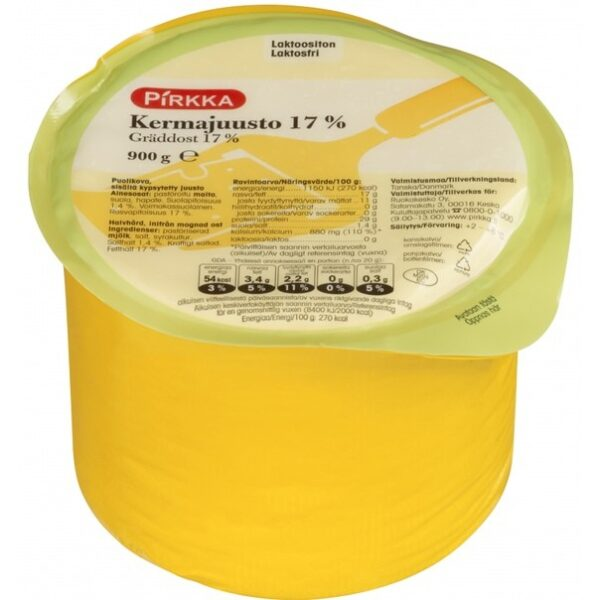 Сыр Pirkka Kermajuusto (17%, Безлактозный) 900 Гр.
