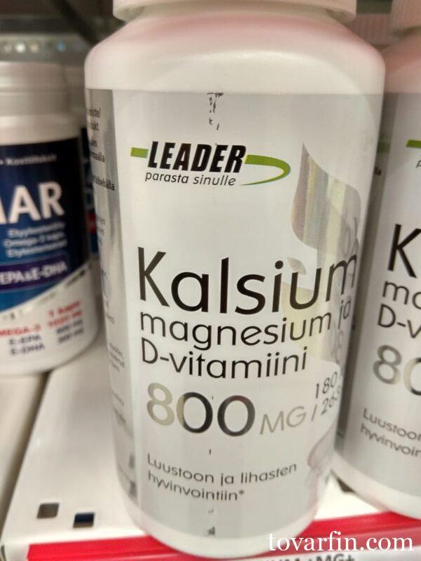 Витамины Leader Kalsium-Magnesium-D-vitamiini 180 шт