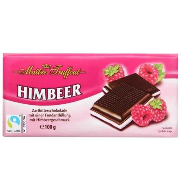 Шоколад темный с начинкой Малина Maitre Truffout, 100гр
