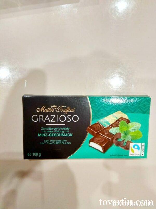 Шоколад Maitre Truffout темный со вкусом Мяты, порционный 100г