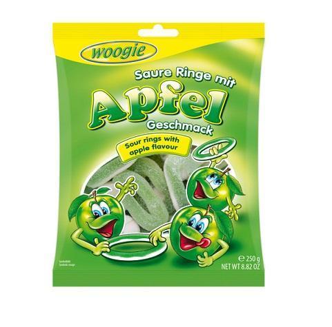 """Жевательные конфеты со вкусом яблока """"Кислые кольца"""" 250 г Woogie"""